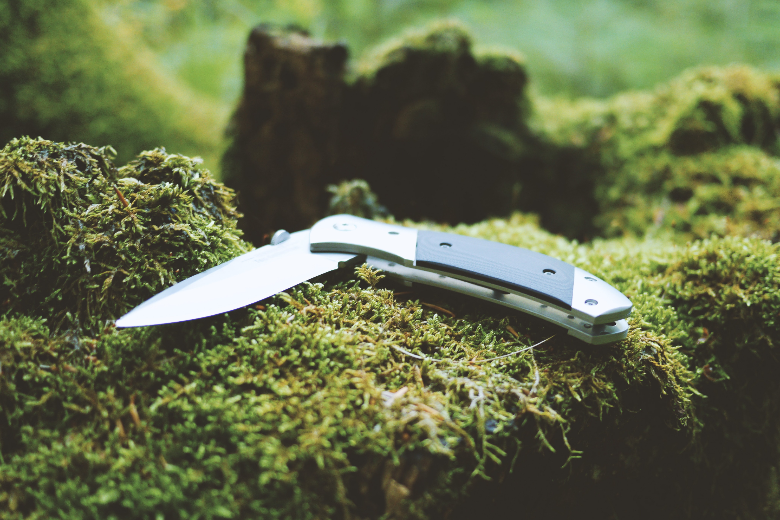 folding knife resting on moss log