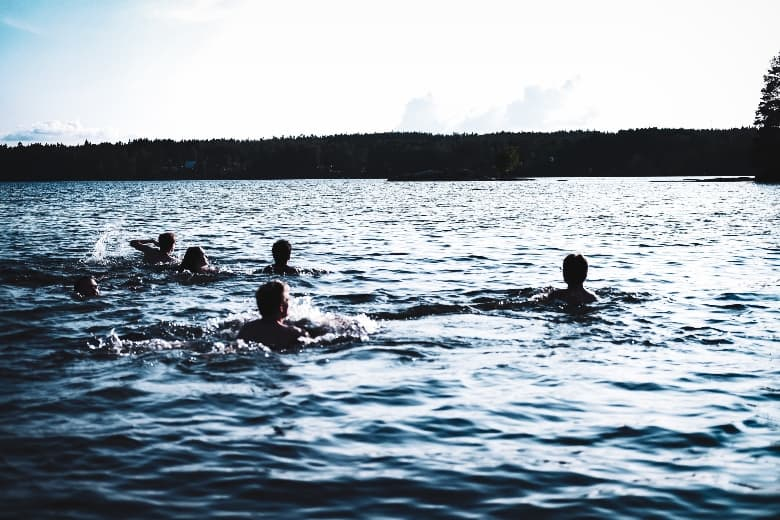 people swimming in a lake surrounded by pine trees