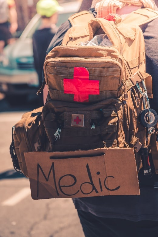 tactical backpack with medic sign