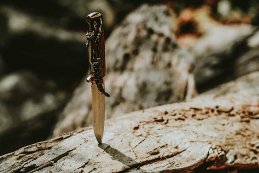 knife stuck upright in a log